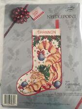 Orange Tabby Cat Christmas Stocking Needlepoint Kit 12 x 17in Vtg Sealed 14 Mesh