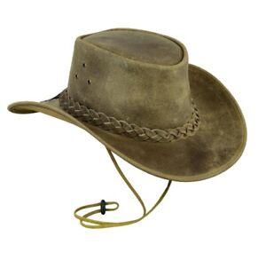 Western Aussie Style Crazy Horse Suede Leather Cowboy Hat