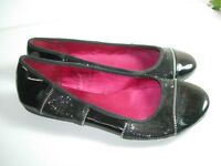 WOMENS BLACK PATENT LEATHER GLITTER CAREER BALLET FLATS HEEL SHOES SIZE 8.5 M