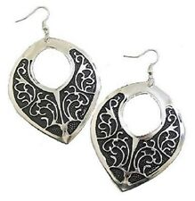Black Silver Dangle Drop Floral Earrings Women Girls Ladies Dress Gift Jewellery