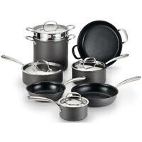 Lagostina Nera Hard Anodized Aluminum Non-Stick 12-Piece Cookware Set in Black