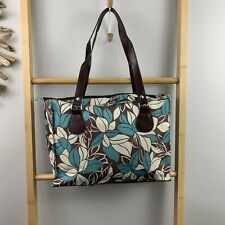 Tropical Shopping Tote Blue Brown Floral Print Supermarket Bag Water Resistant