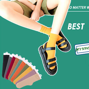 1 Pair Solid Women Middle Tube Socks Breathable Casual Thin Candy Color Size