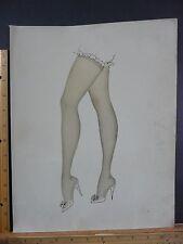 Rare Original VTG Cute Legs Stockings Pointy Mule Shoe Illustration Art Print