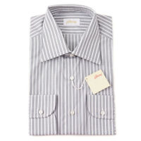 NWT $810 BRIONI Gray and White Striped Cotton Dress Shirt 17.5 Classic-Fit