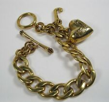 "Juicy Couture Gold Tone Starter Charm Bracelet With Charm puffy Heart Letter ""J"""