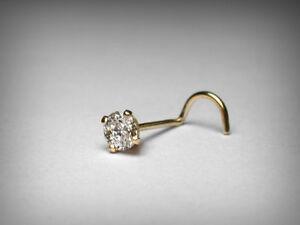 Genuine Diamond Nose Stud. Larger .10 Carat. 3.0mm. 14K Yellow Gold. 22 Gauge.