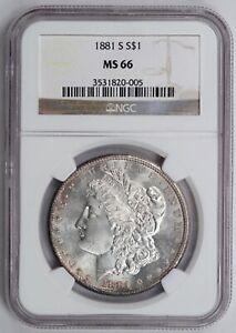 1881-S Morgan Dollar, NGC MS66, Flashy High Grade Gem.