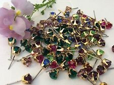 Vintage Claw Earring Goldtone Mixed colour Rhinestone Pack 20 Jewellery RESALE