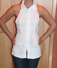 BODY CENTRAL Women's White Sleevless Halter White Button Down Top Size Large