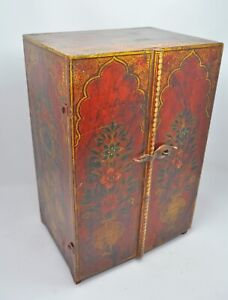 Wooden Jewellery Cabinet Original Old Antique Hand Crafted Fine Painted Drawers