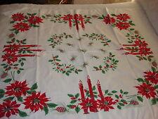 Vintage Christmas Tablecloth POINSETTIA CANDLES 46x52