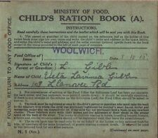 Children's Ration Book World War I 1914-1918 Ministry of Food Home Front