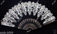 New Hand Held Black Gold Lace Flower Wedding Party Silk Folding Decor Fan