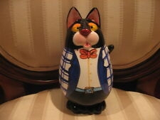 Chubby Black Tuxedo Kitty Cat With Bow Tie Figurine Piggy Bank