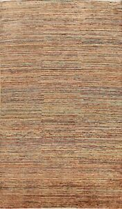 6x9 Modern Striped Color-Full Gabbeh Oriental Area Rug Hand-knotted Wool Carpet