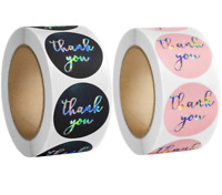 Thank You Stickers Black Pink Labels Silver For Your Order Business Round 25mm