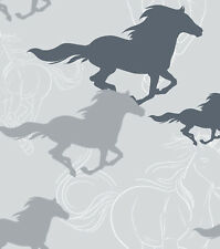 Flannel Fabric HORSES RUNNING SKETCH GRAY 3 yds X 42 in 100% Cotton
