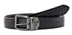 Levi's Men's 40MM Wide Reversible Belt Metal Buckle Black Brown