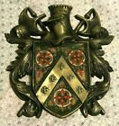 vintage METAL/LEATHER KNIGHT MEDIEVAL CREST w/BATTLE AXE wall hanging~1041~JAPAN