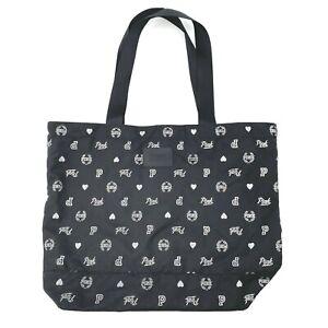 PINK Victoria's Secret Black Silver Campus Logo Printed Large Tote Bag