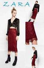ZARA Red Wine Lace Pencil Midi Skirt New(RT$35.99) Lace Hem Trim Stretch Skirt S