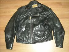Vtg 70S 80S Mens 46 Schott Steerhide Leather 618 118 Black Motorcycle Jacket