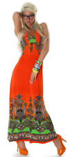 Neckholder-Maxikleid lang Tanz & Party Kleid Latina orange Sommer Größe 34 36 38