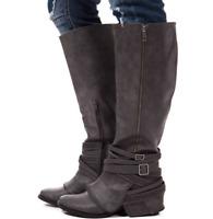 Womens Vintage Zipper Sz35-43 Knee High Boots Ladies Buckle Flat Heel Shoes