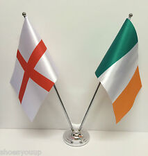 England & Ireland Tri Colours Flags Chrome and Satin Table Desk Flag Set
