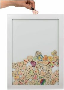 Guest Book in White Frame With 84 Wooden Hearts -  Wedding Party Decoration