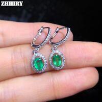 Natural Emerald Earrings Genuine Solid 925 Sterling Silver Drop Earring