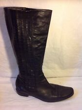 Ladies Black Knee High Leather Boots Size 42.5