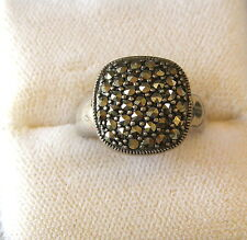 Vintage Sterling Silver 925 Marcasite Square Ring 7.5 Size 7 grams