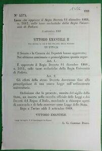 PADOVA,REGIO DECRETO APPROVA LEGGE TASSE SCOLASTICHE REGIA UNIVERSITA'-1546