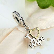 I love wife Silver CZ European Charm Beads Fit 925 Pendant Necklace Bracelet