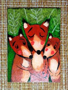 ACEO original pastel painting outsider folk art brut #010490 surreal funny fox