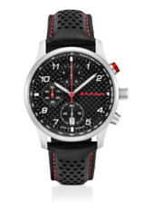 Audi Sport Chronograph Uhr Herrenuhr Carbon Leder schwarz / silber 3101900500