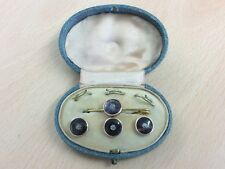 ANTIQUE ART DECO ROLLED GOLD & MOTHER OF PEARL BUTTON & BROOCH SET 1920