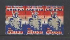 1940 WILLKIE & McNARY JUGATE PICTURE CAMPAIGN STAMP STRIP OF THREE