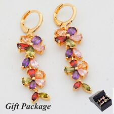 Gift Box Package Wedding Colorful Cubic Zircon Gold Plated Lady Drop Earrings