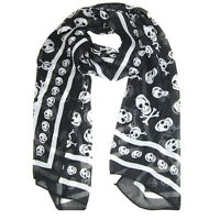 Fashion Chiffon Neck Scarf Black and White Skull Pattern Accessorise Your Look