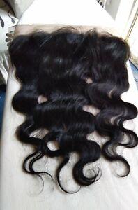 "16"" 13x4 LACE FRONTAL CLOSURE TRANSPARENT BRAZILIAN HUMAN HAIR BODY WAVE 1B 12A"