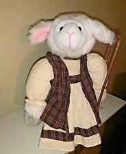 Primitive Doll Plush Door Stop Shepherd Boy Sheep Lamb Joseph Staff Cane 11�