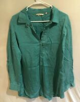 Women's Soft Surroundings Green Qtr Button Top Size Large Popover Locker Loop