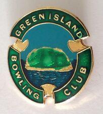 Green Island Bowling Club Badge Pin Vintage Lawn Bowls (L18)
