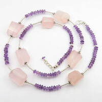 Rose Quartz, Amethyst Beads Necklace Fashion Jewelry 925 Pure Silver