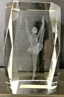 """Laser Cut Etched Ballerina Ballet Crystal Clear Glass Paperweight 3"""" Tall NICE"""