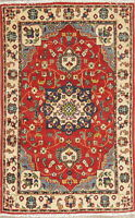 New Red/Blue/Ivory Geometric Super Kazak Pakistani Oriental Area Rug Wool 3x4 ft