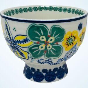 Anthropologie Footed Pedestal Green Floral Jennifer Orkin Lewis Tea Cup Mug